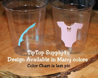 24 Lures or Lace 10,12 or 16 oz. clear disposable cup. Baby Shower, Reel,Gender reveal, girl or boy,fishing, lace, onsie,pole,bow. C-251-225