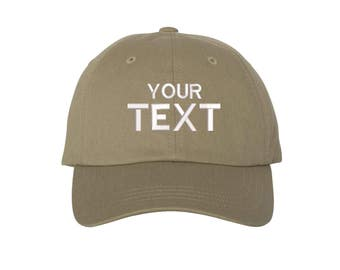 Custom Dad Hat Embroidered Baseball Cap,Your Own Personalized Hat Custom Hat on a Curved Brim Baseball Cap, Choose Your Text, Khaki