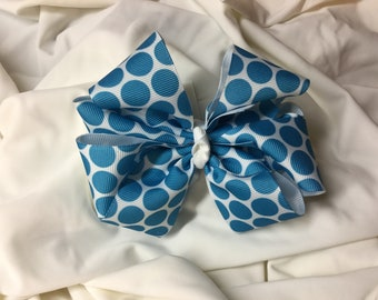 Turquoise and White Polka Dot Double Stacked Hair Bow