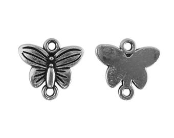 6 connectors co073 antiqued silver Butterfly pendant