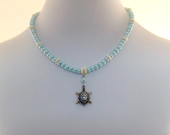 Handmade Baby Blue Pearl Necklace, Little Girl Necklace, Turtle Necklace, Glass Pearl Necklace, Small Necklace, Child Size Necklace, CH005