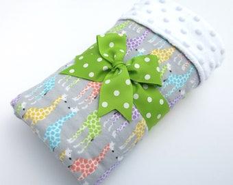 Baby Stroller Blanket - Giraffe Baby Blanket - Gray, Green, Aqua, Coral, Yellow Giraffe Print - Cotton Flannel Baby Blanket - White Minky