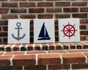 Series of 3 Nautical Silhouettes Wooden Signs, Sailboat Anchor Wheel Sign, Coastal Series, Sailing