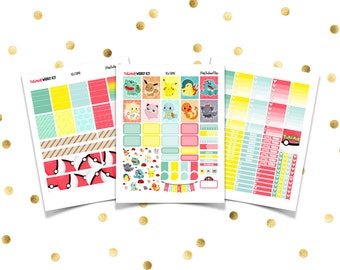 POKEMON Weekly Kit // Printable Planner Stickers / Erin Condren Plum Paper Happy Planner Filofax Inkwell Press Pikachu Go