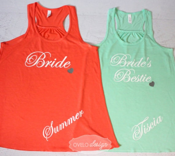 Bride and Brides Bestie with Heart Personalized Custom Bridesmaid Tank Top , Bridesmaid, Maid of Honor Tank Top Flowy Racerback Tank