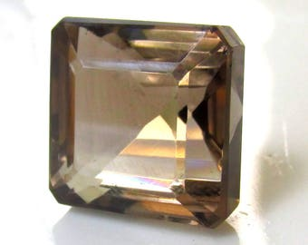 24ct Faceted Smokey Quartz HUGE 16x16mm Square Jewelry Supply