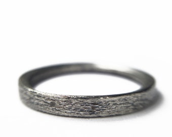 Brushed and Oxidized Silver Ring SIZE 7 Black Women Girl Young Men Boy Simple Minimalist Wood Trendy Delicat Light Discrete Empilable
