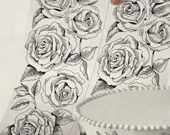 Wilton Edible Icing Sheets/Valentine Edible Icing Sheets/Edible Border Sheets/Sugar Sheets/Edible Images/Edible Rose Pattern/Preprinted