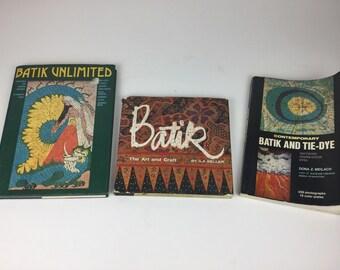 Lot of 3 Books on Batik and Tie Dye with Bonus Material
