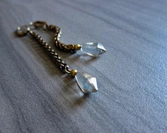 Chain Earring Dangle,Chain Earring Dangle,Glass Earrings,Dangle Earrings,Drop Earrings,Long Chain Earrings,Boho Earrings,Blue Glass Earrings