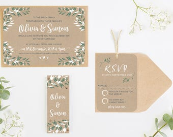 Botanical Rustic Kraft Wedding Invitation Bundle