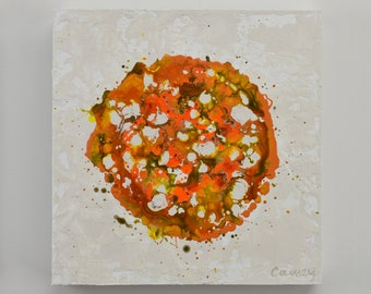 Original Abstract Painting on Wood Panel by Lisa Carney - PETAL BURST 11 - Botanical Art - Orange, Taupe, Yellow, Ochre, Small Abstract Art