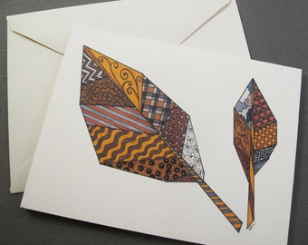 Fall Leaves Stationery Set - Set of 8 Blank Inside Notecard Set - Autumn Brown & Yellow