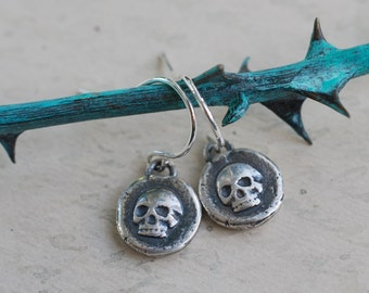skull earrings - skull wax seal earrings - tiny sterling silver skull dangle earrings - memento mori - antique wax seal jewelry