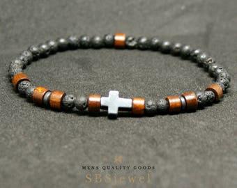 CROSS BRACELET Mens Cross Bracelet Sideways Cross Bracelet Religious Bracelets Cross Jewelry Christian Bracelet Mens Bracelet Beaded Bracele