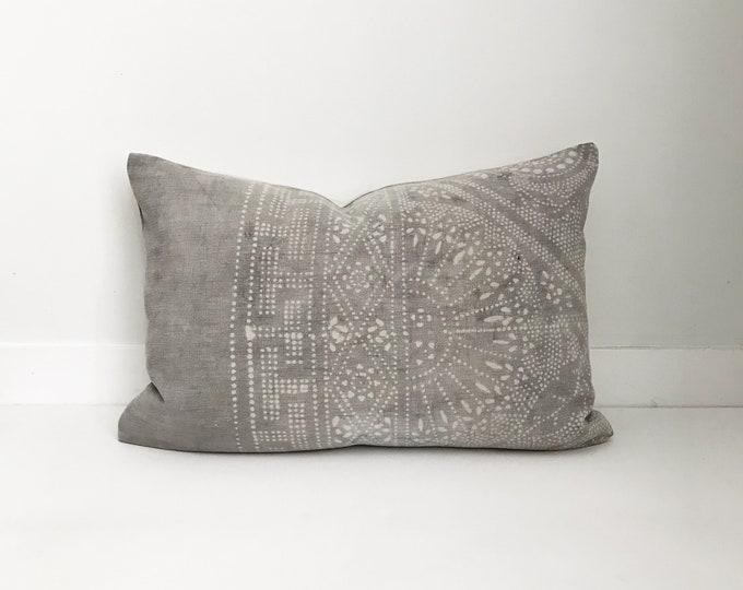 Chinese Batik Pillow Cover Vintage, Textile, Ethnic, Handwoven, Gray, Batik