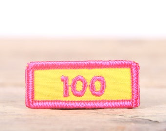 """Vintage Girl Scout Patch / 1970's-80's Scout Patch / Yellow Pink 100 Patch / Old Stock Scout Patch / 2"""" Girl Scouts Patch / Scout Badge"""