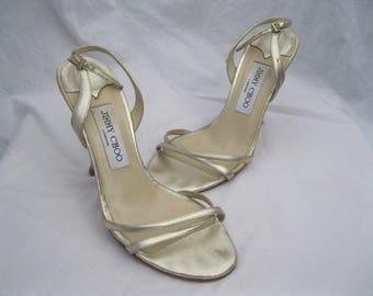 Metallic Silver Leather Jimmy Choo Slingbacks Size 37