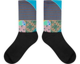 Vaporwave AESTHETIC བརད་  Fibonacci Spiral Grunge Socks Sacred Geometry Natural Number Socks
