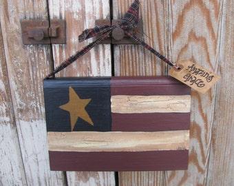 Primitive American Flag Patriotic Americana Hanging Hand Painted Vintage Book GCC771