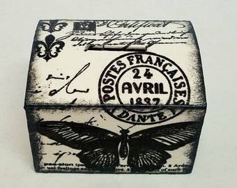 Vintage style black and white coin savings box. Coin bank. Piggy bank. Wooden coin bank. Kids savings bank.