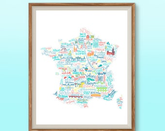 French monuments map travel print art for traveler France map wall art bedroom print art for france lover