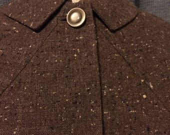 Late 50s - Early 60s Maroon/Brown Wool Fleck Skirt Suit with Cropped Jacket - Small