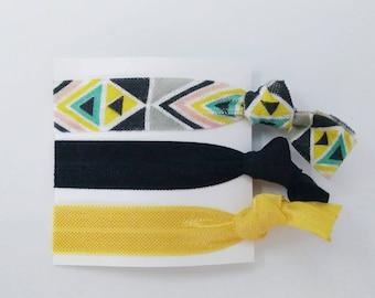 Black, yellow, white aztec elastic hair tie set - Creaseless hair ties - Easter gift for her - Easter basket stuffer - Easter basket girl