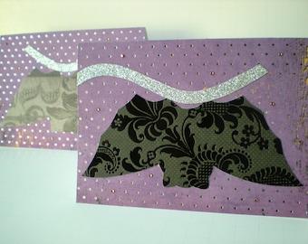 SALE 20% OFF Bats 2-Card Set Handmade Halloween Animal Black Purple Silver