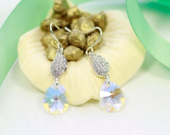 Swarovski crystal earrings | Teardrop crystal earrings | Silver earrings | Leaf earrings