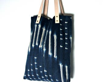 Indigo and White Mud Cloth Tote with Genuine Leather Handles // African Textile Artisan Woven Overnight Bag Leather Straps Large Blue Laptop