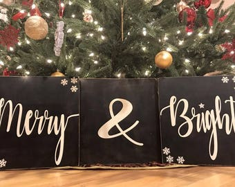 Merry and Bright Christmas signs.  Rustic. Country decor.