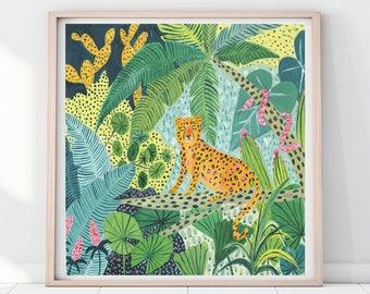 Leopard Illustration, Rainforest Illustration, Leopard Print, Jungle Print, Plants Print, Childrens decor, Nursery wall art, Animal print
