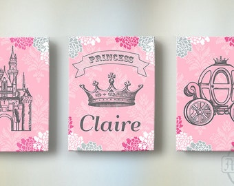 Princess Girl Room or Nursery Canvas Art  Princess Wall Hanging Set of three Personalized Art. Pink and Gray & Princess baby room | Etsy