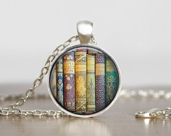 Books. Purple and Green hue. Gift for bookworm. Comes as a necklace or keychain.