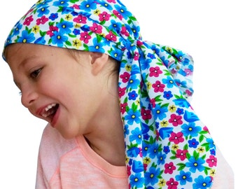 Ava Joy Children's Pre-Tied Head Scarf, Girl's Cancer Headwear, Chemo Head Cover, Alopecia Hat, Head Wrap for Hair Loss - Bright Flowers
