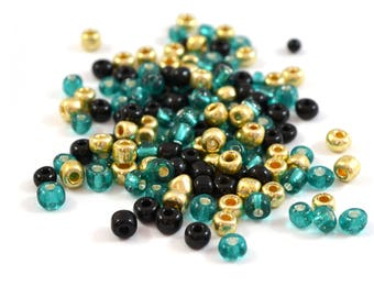 10 gr large glass 4mm turquoise, gold and black seed beads / MPERRO013