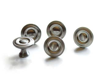 Silver knob - nickel knob - Drawer Pull - Drawer Knob - 10 pack