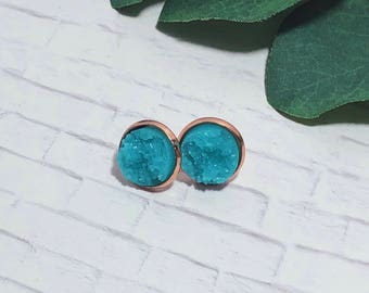 Druzy Earrings | Aqua Druzy Studs | Blue Druzy Earrings | Blue Earrings