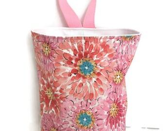 Pink Flowers Waterproof Car Trash Bag, Litter Bag, Car Accessory, Storage Bag, Trash Bag, Waterproof Car Bag, Organizer Bag, Toiletry Bag
