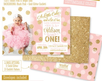 Girl first birthday invitation photo card blush pink gold pink and gold first birthday invitation pink gold 1st birthday photo card a filmwisefo Images