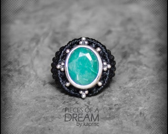 Emerald Silver 925 Macrame Ring