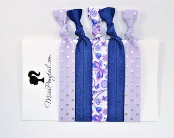 Butterfly Hair Ties, Butterflies, Purple, Elastic Hair Ties, Handmade, Elastic Ribbon, Ponytail Holder, Knotted Hair Ties, FOE