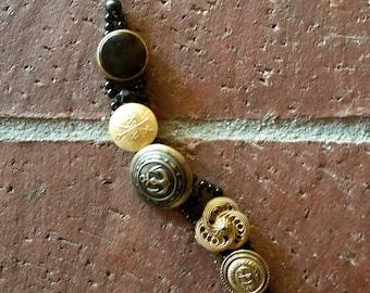 Black beaded, vintage button bracelet