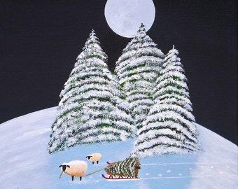Winter Snow Small Mini Folk Art PRINT of Todd Young painting Christmas Sheep