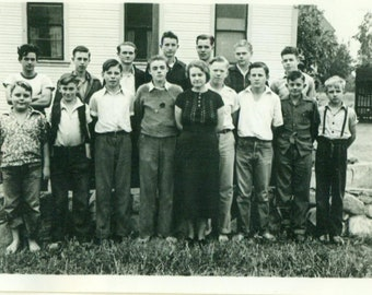 1960s School Boys Group Photo with Teacher Who Has Seen it All 60s Vintage Photograph Black White Photo
