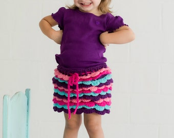 Girls crochet skirt , ruffle skirt , girls crochet skirt , toddler skirt , crochet skirt set, crochet skirt and hair clip , girls skirt set