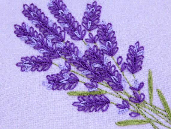Lavender Embroidery Pattern Wildflower Embroidery Pattern Floral