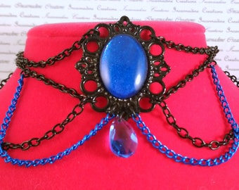 Handpainted blue stone and black and blue chain choker necklace gothic victorian