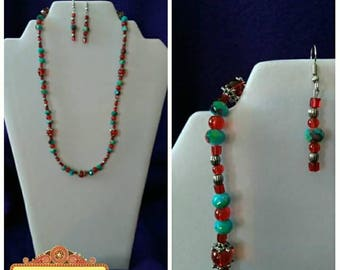 Bold Red and Turquoise Jewelry Set